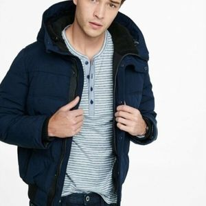 NEW $228 EXPRESS NAVY BLUE PUFFER COAT JACKET HOOD